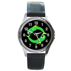Green fishes Round Metal Watch