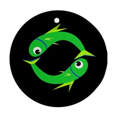 Green fishes Ornament (Round)