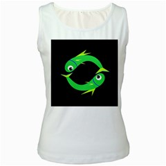 Green fishes Women s White Tank Top