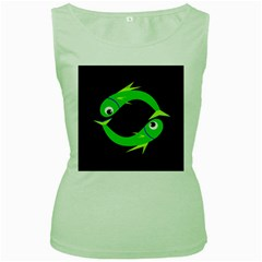 Green fishes Women s Green Tank Top