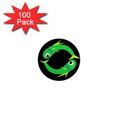 Green fishes 1  Mini Magnets (100 pack)