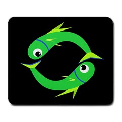 Green fishes Large Mousepads