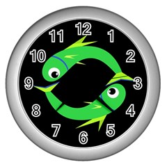 Green fishes Wall Clocks (Silver)