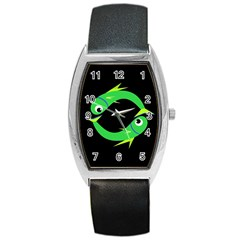 Green fishes Barrel Style Metal Watch