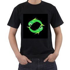 Green fishes Men s T-Shirt (Black) (Two Sided)