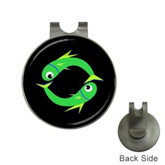 Green fishes Hat Clips with Golf Markers
