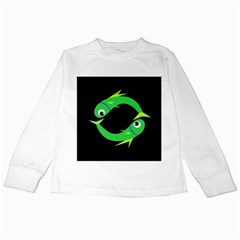 Green fishes Kids Long Sleeve T-Shirts