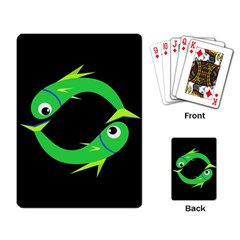Green fishes Playing Card