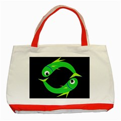 Green fishes Classic Tote Bag (Red)