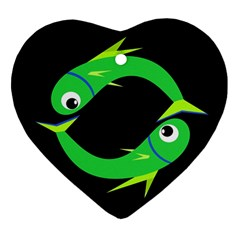 Green fishes Heart Ornament (2 Sides)