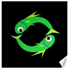 Green fishes Canvas 20  x 20