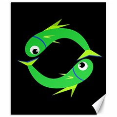 Green fishes Canvas 20  x 24