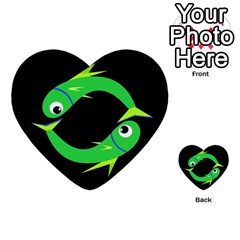 Green fishes Multi-purpose Cards (Heart)