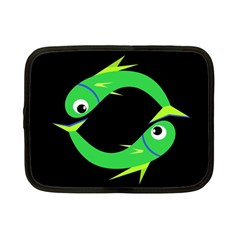 Green fishes Netbook Case (Small)