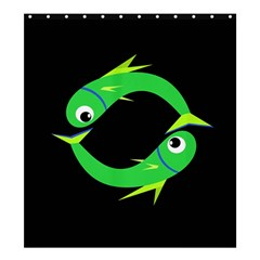 Green fishes Shower Curtain 66  x 72  (Large)