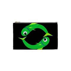 Green fishes Cosmetic Bag (Small)