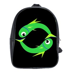 Green fishes School Bags(Large)