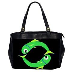 Green fishes Office Handbags (2 Sides)