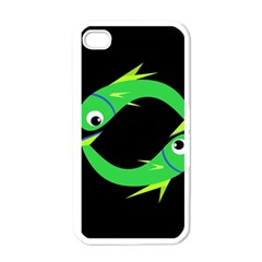 Green fishes Apple iPhone 4 Case (White)