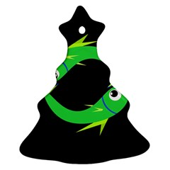 Green fishes Christmas Tree Ornament (2 Sides)