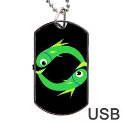 Green fishes Dog Tag USB Flash (Two Sides)