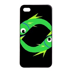 Green fishes Apple iPhone 4/4s Seamless Case (Black)