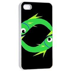 Green fishes Apple iPhone 4/4s Seamless Case (White)