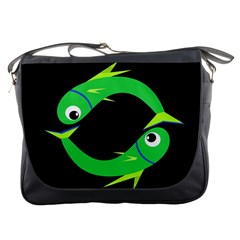 Green fishes Messenger Bags