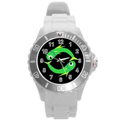 Green fishes Round Plastic Sport Watch (L)