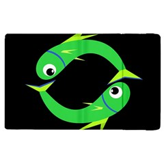 Green fishes Apple iPad 2 Flip Case