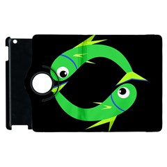 Green fishes Apple iPad 2 Flip 360 Case