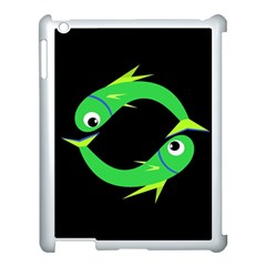 Green fishes Apple iPad 3/4 Case (White)