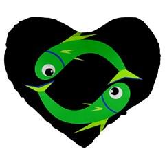 Green fishes Large 19  Premium Heart Shape Cushions