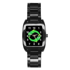 Green fishes Stainless Steel Barrel Watch