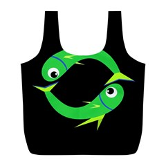 Green fishes Full Print Recycle Bags (L)