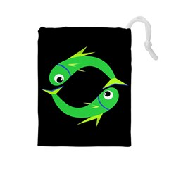 Green fishes Drawstring Pouches (Large)