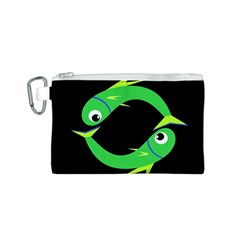 Green fishes Canvas Cosmetic Bag (S)
