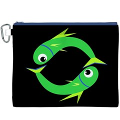 Green fishes Canvas Cosmetic Bag (XXXL)