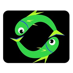 Green fishes Double Sided Flano Blanket (Large)