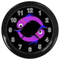Purple fishes Wall Clocks (Black)