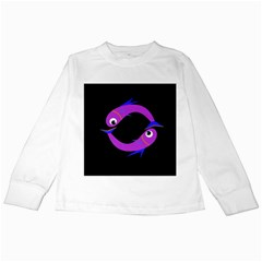 Purple fishes Kids Long Sleeve T-Shirts