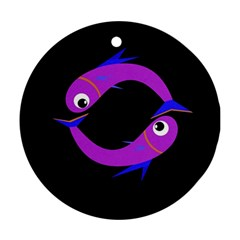 Purple fishes Round Ornament (Two Sides)