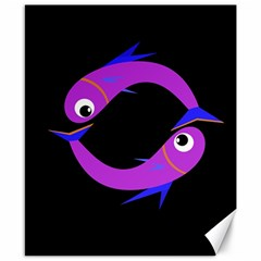 Purple fishes Canvas 8  x 10