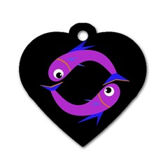 Purple fishes Dog Tag Heart (Two Sides)