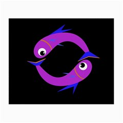 Purple fishes Small Glasses Cloth (2-Side)