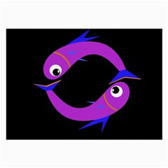 Purple fishes Large Glasses Cloth (2-Side)