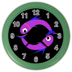 Purple fishes Color Wall Clocks