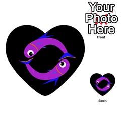 Purple fishes Multi-purpose Cards (Heart)