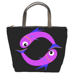 Purple fishes Bucket Bags