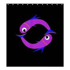 Purple fishes Shower Curtain 66  x 72  (Large)